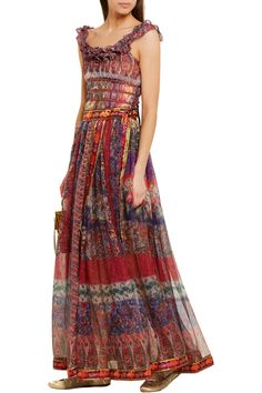 If I could afford it, I'd get it!  The skirt, not the top. Etro. embroidered printed silk-chiffon wrap maxi skirt .