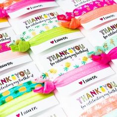Personalized hair tie favors for a bridesmaid proposal gift, bachelorettes, kid's birthday parties + baby showers! Kid Party Favors, Birthday Favors, Birthday Parties, Birthday Ideas, Hair Tie, Hair Bows, Bridesmaid Proposal Gifts, Tropical Party, Birthday Thank You