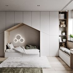 with Minimalist Kids bedroom with ample storage a quaint little bed and a window seating station. Kids Bedroom Designs, Kids Bedroom Sets, Kids Room Design, Cozy Bedroom, Bed Design, Bedroom Decor, Kids Bedroom Storage, Childs Bedroom, Kid Bedrooms