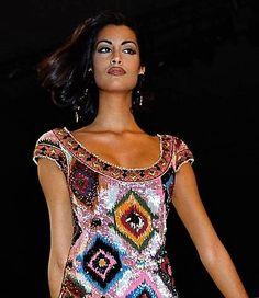 Supermodel Yasmeen Ghauri for  Valentino Runway Show,   autumn-winter 1991-1992 fashion show in Paris.