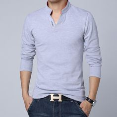 Big yards long sleeve polo shirts men's 2015 new men's cultivate one's morality v-neck pure color clothes