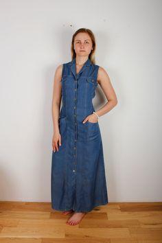 Vinatge Denim Dress Women 90s Style Maxi Length Dress Denim