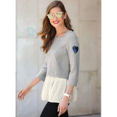 Produkty :: ŽENY :: Oblečenie :: Mikiny :: VENCA Mikina s efektom 2 v 1 sivá - Produkty Tunic Tops, Street Style, Pullover, Sweaters, Women, Fashion, Latest Fashion, Shopping, Vestidos
