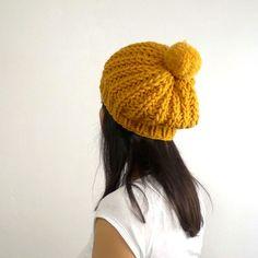 Sunflower PomPom Slouch Hat