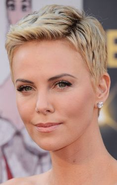 pixie cut for round face, charlize theron, pixie cut