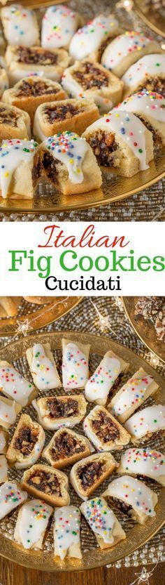 Italian Fig Cookies (Cucidati), Sicilian Fig Cookies, or Christmas Fig Cookies - all names for this deliciously moist, tender & sweet, fruit filled cookie. Italian Fig Cookies, Italian Christmas Cookies, Italian Cookie Recipes, Sicilian Recipes, Italian Desserts, Holiday Cookies, Christmas Desserts, Italian Pastries, Christmas Recipes