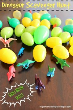 Dinosaur Scavenger Hunt. Fun DIY gross motor skills activity idea for kids.