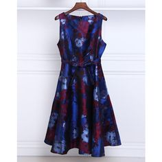 Dark Blue Floral A Line Midi Dress ($56) ❤ liked on Polyvore featuring dresses, floral pattern dress, midi dress, mid calf dresses, flower printed dress and floral print midi dress