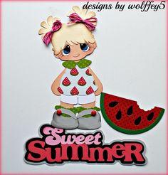 ELITE4U GIRL SUMMER paper piecing premade scrapbook page diecut piece  WOLFFEY5 #wolffey5
