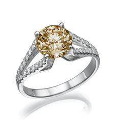 14K YELLOW GOLD ENGAGEMENT RING DIAMOND 1.6 CT ROUND FANCY CHAMPAGNE SI1.Now http://stores.ebay.com/zamir-diamonds