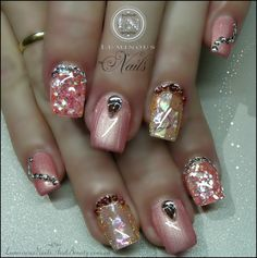 pink bling nails | Pink Opal & Shimmery Coral Pink Nails with Bling...