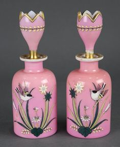 French pink glass opaline perfume bottles - liveauctioneers