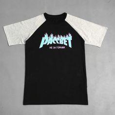 18954cac3feeb HOT brand Gosha Skateboard Boy thrasher Rubchinskiy paragraph flame paccbet  Love raglan fitted T-shirt