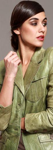 veste en cuir #vert