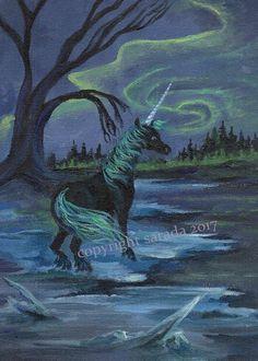 Gothic aurora black unicorn 5 x 7 art print dark gothic