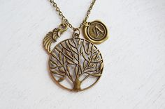 tree necklace,initial necklace,angel wing necklace,guardian angel,family tree,tree of life,gift for her,mother's gift,keepsake,birthday gift