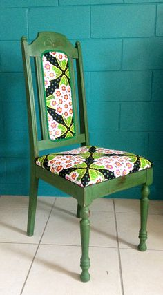 Jungle green floral chair. Milk paint furniture