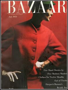 Barbara Mullen in geranium red wool fleece jacket by Swansdown, evergreen velour cap by Emme, cover photo by Lillian Bassman, July 1953