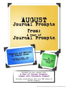 Writing prompts for August: done! * Free download for teachers *