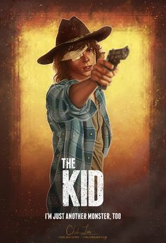 """I'm just another monster, too. The Kid 13 x 19 in – Digital painting + Poster design "" The third in my series of The Walking Dead character posters! Featuring Carl Grimes, ""The Kid."" Other posters in the series: The Ringleader (Rick Grimes) Walking Dead Zombies, Memes Walking Dead, Carl The Walking Dead, Walking Dead Fan Art, Walking Dead Pictures, Walking Dead Tv Series, Enid Walking Dead, Walking Dead Toys, Walking Dead Coral"