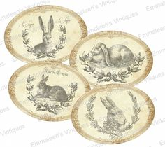 ~Vintage Shabby Victorian Grunge Bunny Bunnies Labels Waterslide Decals~ LAB419 #WaterslideDecals