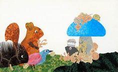 ここからはポストカードにしたいくらい素敵なレオニの作品をご紹介します!こちらは「ねずみが一番えらい」と嘘をついてしまったシオドアのお話。濃密な図柄のコラージュ技法で描かれている点が特長です。動物たちの表情が何ともキュート♪