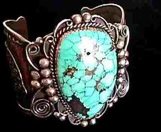 Turquoise & Sterling Lizard Cuff by Famous Navaho artist, Albert Cleveland