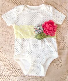 Items similar to Polkadot Baby Onesie with Flower Belt on Etsy Baby Onesie, Onesies, Flower Belt, Truffles, Cherry, Polka Dots, Couture, Flowers, Kids