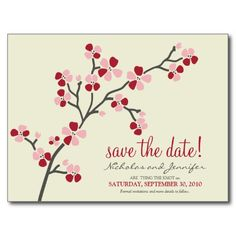 Cherry Blossom POSTCARD Save the Date (red)