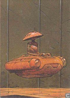 Police Robot by Jean Henri Gaston Giraud aka Moebius Jean Giraud, Heavy Metal Comic, Nogent Sur Marne, Moebius Art, Arte Cyberpunk, Ligne Claire, Collector Cards, Science Fiction Art, Sci Fi Art