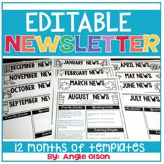 Editable Monthly Newsletter Templates Do you like eye-catching newsletters but you just don't have the time or ability to create one? I have the perfect solution! I have created these EDITABLE monthly newsletter templates for YOU to use for your families! Monthly Newsletter Template, Newsletter Ideas, Classroom Newsletter, Preschool Newsletter, Simple Budget Template, Classroom Organization, Classroom Ideas, Classroom Management, Teaching Writing