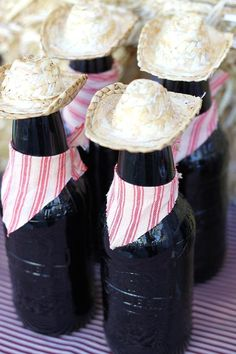 7.  Cowboy Root Beer Bottles. How fun are these root beer bottles?  You can dress yours up the same by just adding mini cowboy hats!