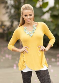 One Sided Button Top Mustard - Modern Vintage Boutique