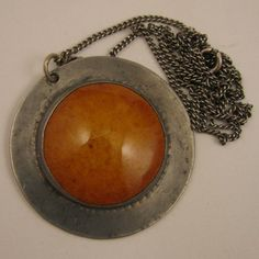 Arts & Crafts Ruskin Egg Yolk Pottery in Pewter Pendant Necklace