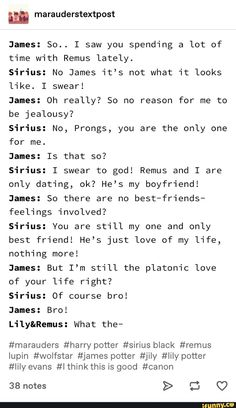 James: I saw you spending a lot of time with Remus lately. Sirius: it's what it looks like. 50 no reason for me to be jealousy? Sirius: No, Prongs, you are the only one for me. Sirius: I swear to god! Harry Potter Texts, Harry Potter Sirius, Harry Potter Comics, James Potter, Harry Potter Universal, Harry Potter Fandom, Harry Potter Hogwarts, Harry Potter World, Remus And Sirius