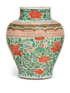 A Chinese wucai baluster jar, 17th century