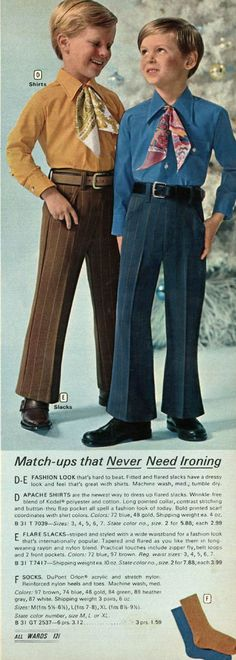 boys dress clothes 1971 - dressing like the big boys. Fred and Daphne from Scooby Doo had kids! Kids Fashion Boy, 70s Fashion, Vintage Fashion, Vintage Advertisements, Vintage Ads, Vintage Barbie, Boys Dress Clothes, Awkward Photos, Boy Costumes