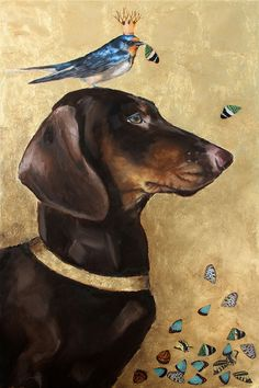 Noble Brown and Tan Dachshund Barn Swallow Purple by hartart13, $1200.00