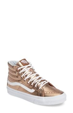 Free shipping and returns on Vans 'Sk8-Hi Slim' Metallic Leather Sneaker (Women) at Nordstrom.com. Shimmering bronze pebbled leather gives this high-top skate shoe from Vans a rich update—wear it with everything from denim to dressier ensembles for a stylish, sporty-chic look.