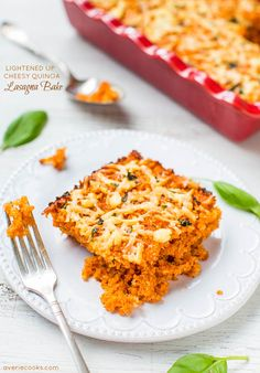 Lightened Up Cheesy Quinoa Lasagna Bake