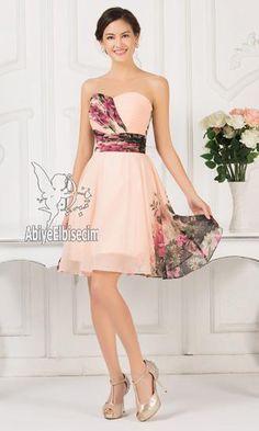 Kısa abiye elbise tek omuz