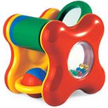 Bright colors, intriguing shapes and sounds invite play. Activity Play Cube develops grasp and release and eye-hand coordination, and teaches cause and effect. For ages six months and up.
