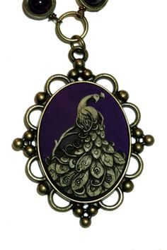 Neo Victorian Jewelry - Necklace - Dark Purple Peacock Cameo