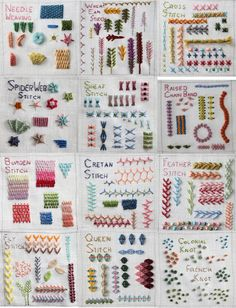 Embroidery Stitches Sampler - found at http://theflossbox.blogspot.com.au/search/label/summer%20stitch%20school Sewing Stitches, Embroidery Stitches Tutorial, Embroidery Techniques, Crazy Quilt Stitches, Crazy Quilting, Types Of Embroidery Stitches, Types Of Stitches, Embroidery Sampler, Embroidery Applique