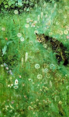 """Bruno Liljefors (Swedish painter) """"Cat in the Summer Meadow"""" Via The Golden Age of Illustration of Illustration: Cat Drawing, Painting & Drawing, Illustration Art, Illustrations, Pics Art, Animal Paintings, Crazy Cats, Love Art, Cat Art"""