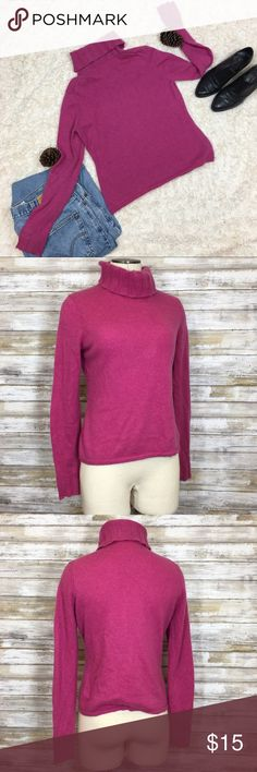"""Pink Turtleneck Sweater So soft and cozy! I love a bold pink for winter, it's the perfect contrast against a white backdrop. Add a turtleneck and it'll be sure to keep you warm! No size tag, approximately a size Medium. No material tag but it feels like a cashmere blend. Condition: good. Measurements (flat): Armpit to armpit: 18.5"""" Waist: 16"""" Bottom hem: 17.5"""" Length: 19"""" Sleeve: 25"""" Neck: 6.25"""" Sweaters Cowl & Turtlenecks"""
