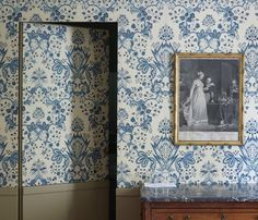 Blue French Pierre Frey print fabric wallcovering on magnificent guest suite walls. Beautiful Avignon Hotel La Mirande on Hello Lovely Studio. Wallpaper Door, Damask Wallpaper, Zuber Wallpaper, Invisible Doors, Upholstered Walls, Bookcase Door, Hidden Rooms, Hidden Closet, Ivy House