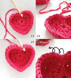 Penye İpten Kalp Sepet Yapılışı 5