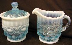 Blue Opalescent Glass Eyewinker Pattern Creamer Sugar Set | eBay