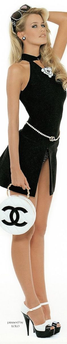 Chanel is my go to.  However I would have to wear a short pencil skirt under this.  Everything else is a go.  Dressing For My Life,  Patti Montgomery